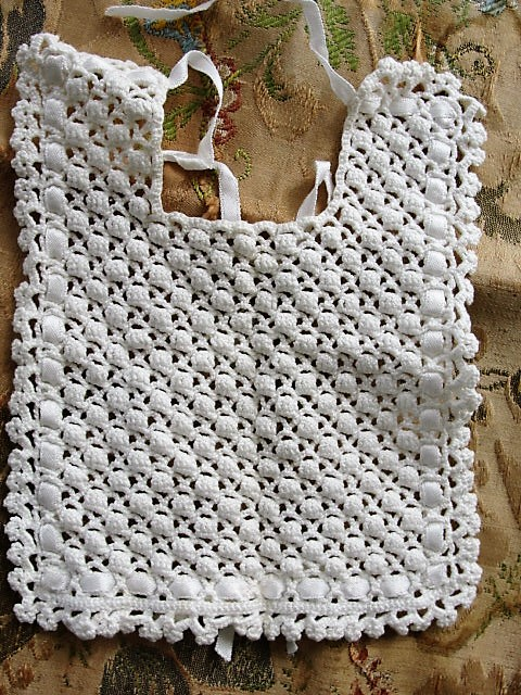 Hand Crocheted Baby Bib from a Vintage Pattern