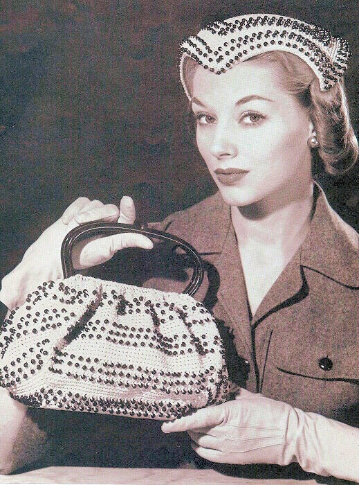 VINTAGE CROCHET PATTERN 50s BEADED HAT, PURSE BAG