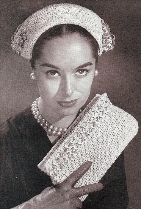 VINTAGE CROCHET PATTERN 50s STYLISH HAT CLUTCH PURSE