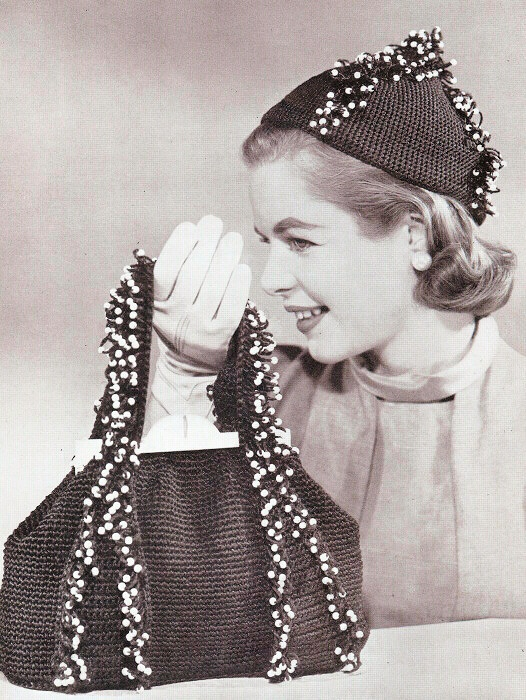 VINTAGE 50s CROCHET PATTERN BEADED HAT, PURSE, BAG
