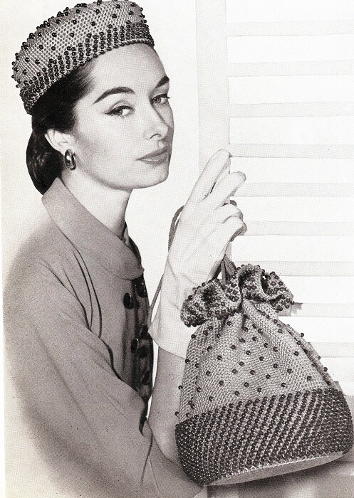 VINTAGE CROCHET PATTERN BEADED HAT DRAWSTRING BAG
