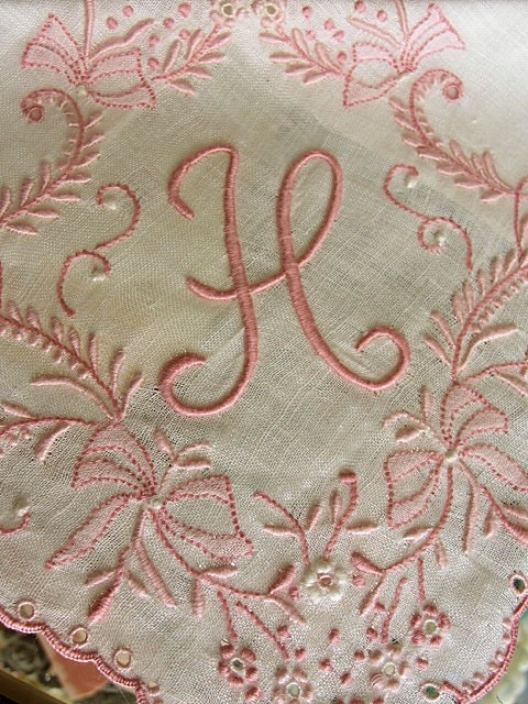 Breathtaking Vintage Madeira Monogram BRIDAL WEDDING HANDKERCHIEF Heavily Encrusted Embroidery Work Hankie Lady Heritage Label