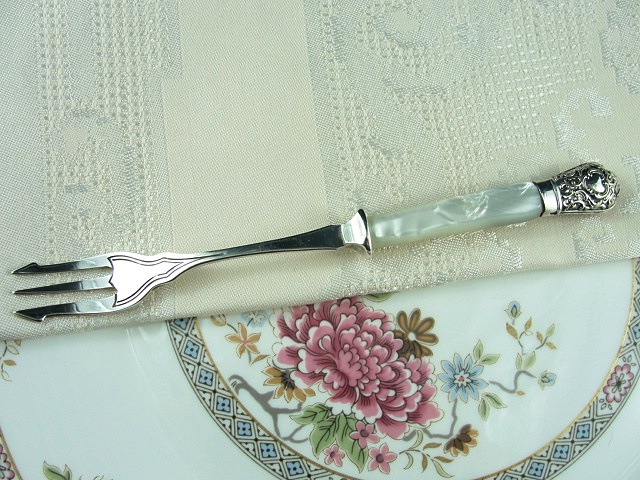 VINTAGE ORNATE SILVER PICKLE FORK MOTHER of PEARL HANDLE