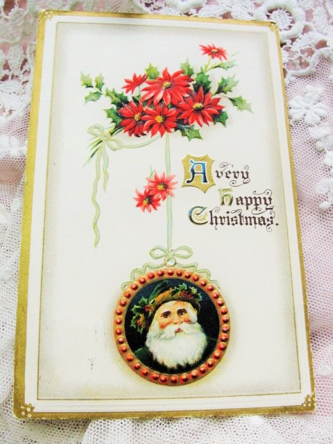 BEAUTIFUL Antique Christmas Greeting Postcard SANTA Claus Saint Nick Embossed Decorative Holiday Decor Vintage Holiday Card