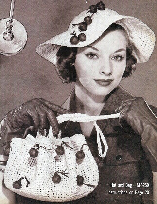 VINTAGE CROCHET PATTERN FLIRTY LARGE HAT, PURSE BAG