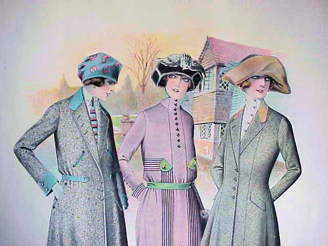 LOVELY VINTAGE LARGE FRENCH FASHION PRINT PERFECT TO FRAME