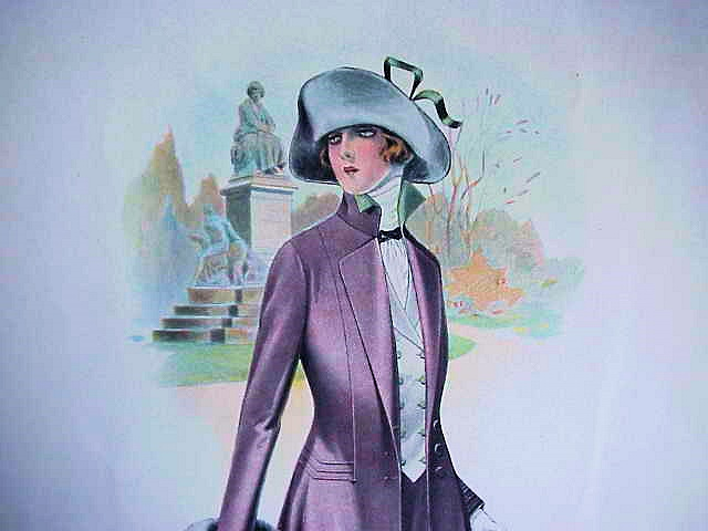 ORIGINAL LARGE VINTAGE FRENCH FASHION PRINT LOVELY COLORS