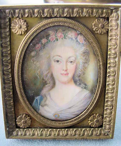 LOVELY MINIATURE ON IVORY MARIE ANTOINETTE  SIGNED ORIGINAL FRAME
