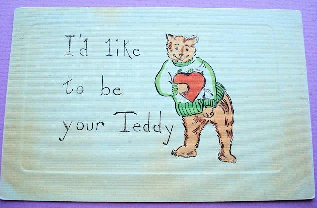 ANTIQUE VALENTINE POSTCARD 1907  DRESSED TEDDY BEAR HULDS TEDDY BEAR SERIES