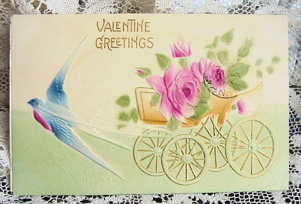 ANTIQUE EMBOSSED VALENTINE GREETING POSTCARD 1910 PINK ROSES BLUEBIRD CART