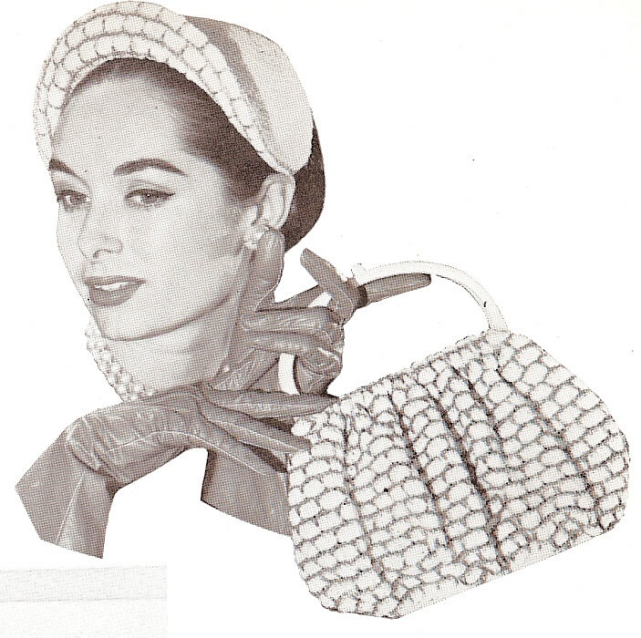 VINTAGE 50s CROCHET PATTERN LOVELY HAT, PURSE BAG