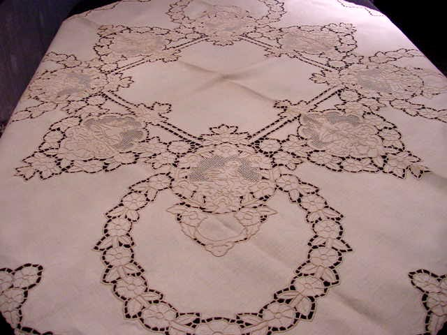 Gorgeous Antique CHERUBS Embroidered and Cutwork MADEIRA  Tablecloth and Set of Napkins Fine Dining Bridal Wedding Present Vintage Linens