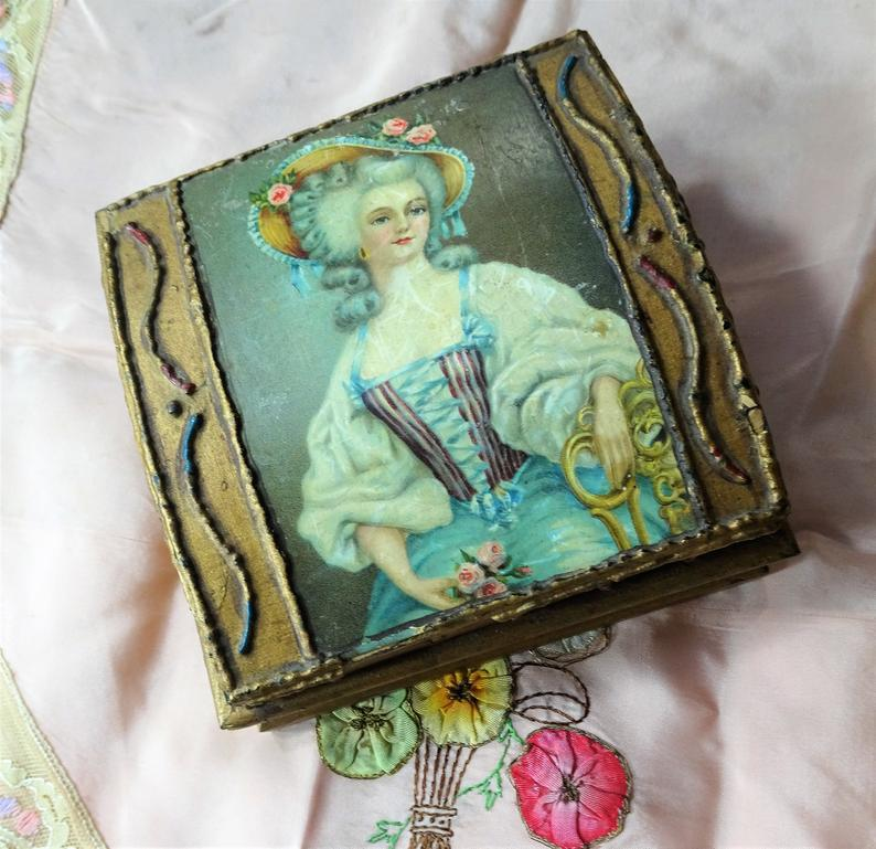 BEAUTIFUL French Antique Box,Jewelry Box,Trinket Box,Document Box,Vanity Display,Lovely Lady,French Chateau Decor,Charming Collectible Boxes