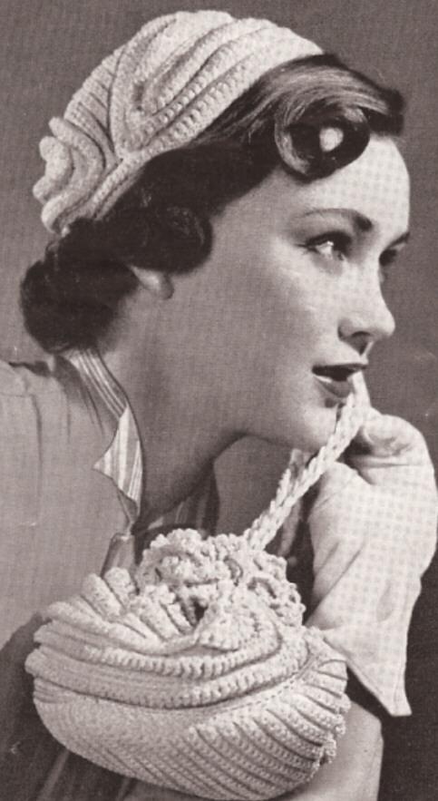 1950s Vintage Crochet Hat Bag Flirty Juliet Cap Purse Cord Style Vintage Crochet Pattern Mail Order Pattern