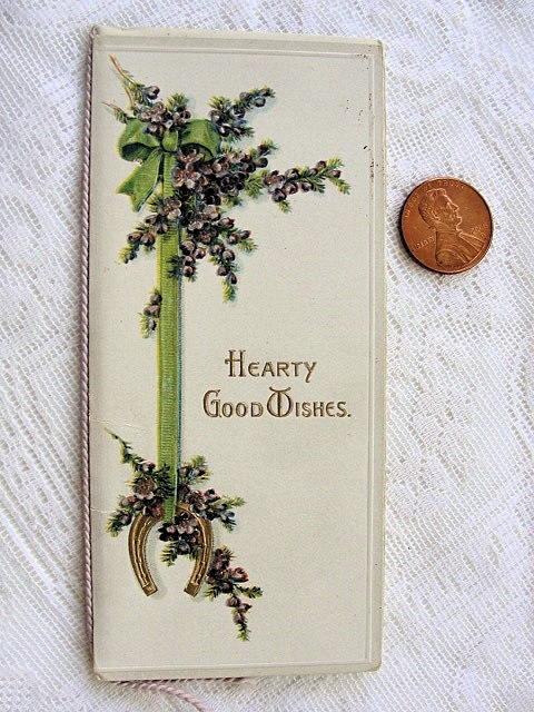 VICTORIAN CHRISTMAS CARD HEARTY GOOD WISHES HM BURNSIDE