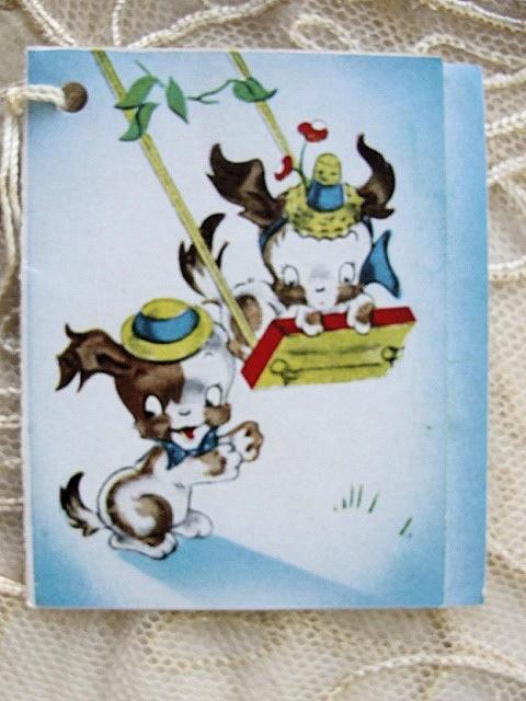 1930s BRIDGE TALLY TALLIES CARD CUTE DOGS PUSHING SWING