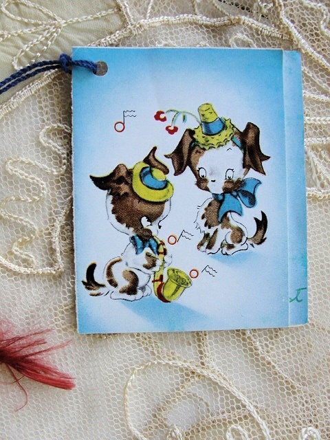 1930s BRIDGE TALLY TALLIES CARD CUTE DOGS PLAYING A  MUSICAL INSTRUMENT