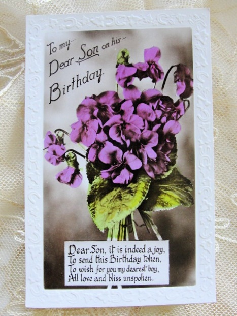 VINTAGE SWEET BIRTHDAY POSTCARD TINTED PHOTO VIOLETS EMBOSSED EDGE