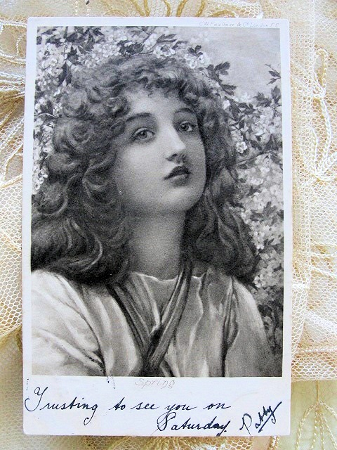 BEAUTIFUL 1903 GLAMOUR POSTCARD POSTCARD ENTITLED SPRING  PERFECT TO FRAME
