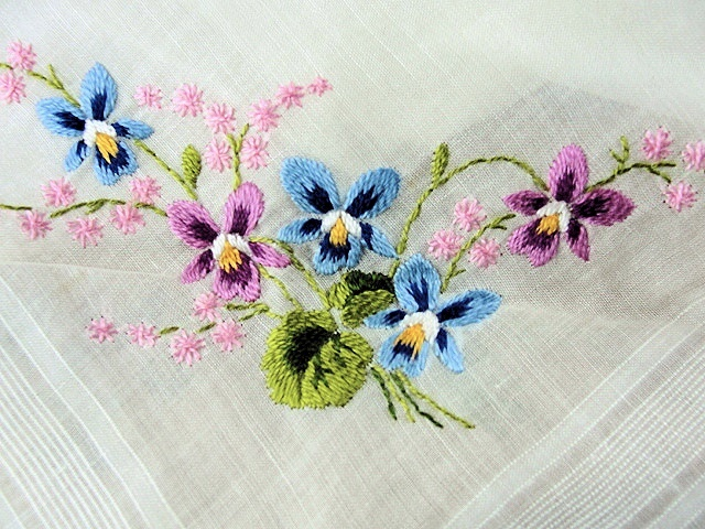 Vintage Hand Embroidered Floral Handkerchief Hand Rolled Hanky Sweet Blue Pink Flowers Pansies Special Bridal Hankie