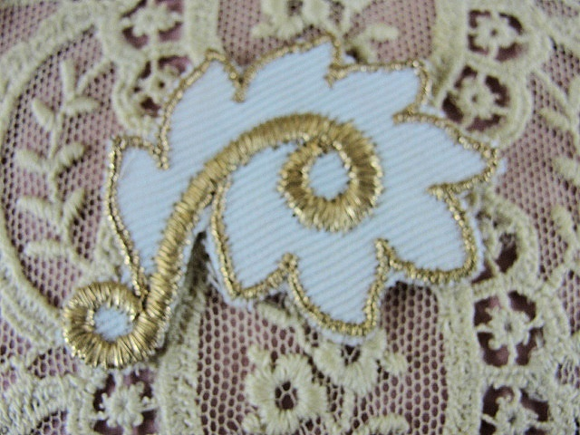 Lovely Vintage Small French Applique Rich Gold Metallic Thread Aged Glitter Embroidery Lame Perfect For Hats Flapper Head Bands etc