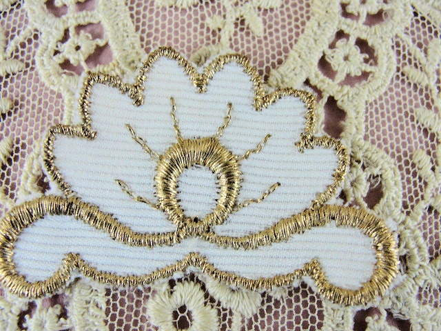 Lovely Vintage Small French Applique Rich Gold Metallic Thread Aged Glitter Embroidery Lame Perfect For Hats Flapper Head Bands Dresses etc