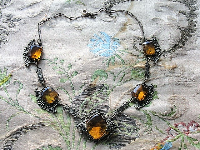 GORGEOUS Antique 1920s Art Deco Czech Cut Glass Necklace, Filigree Setting, Amber Faceted Glass, Collectible Vintage Jewelry