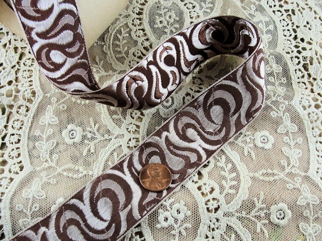 ANTIQUE FRENCH Silk Brocade Ribbon Trim Art Nouveau Design Rich Lush Sepia Browns Perfect For Pillows, Hats, Vintage Clothing, Crazy Quilts