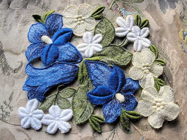 Lovely Intricate Heavily Embroidered Vintage APPLIQUE Blue Yellow White Flowers Corsage Large Trim Great For Lamps, Hats, Heirloom Sewing