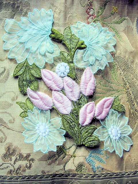 Lovely Intricate Heavily Embroidered Vintage APPLIQUE PINK ROSES Blue Flowers Corsage Large Trim Great For Bride, Pillows, Hats etc
