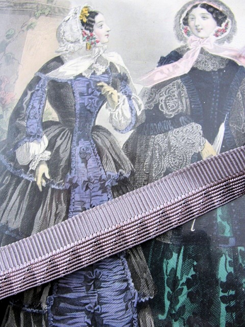 ANTIQUE FRENCH Silk Ribbon Trim Art Deco Pattern Flapper Rich Mauve Lilac Color Great For Ribbonwork Flowers Boudoir Lamp Shades Hats Etc