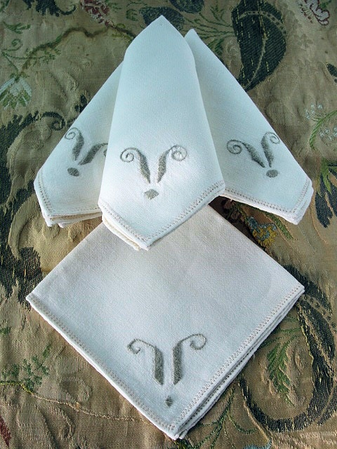 Elegant Tea Time Vintage Art Deco 1920s Irish Linen Napkins Set Natural Linen Ecru Embroidered Luxury LinensTable Linens