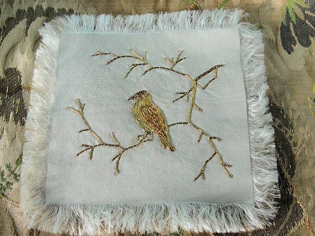 RARE Victorian Gold Metallic Silk Embroidery Doily Mat Metal Gold Thread Hand Work Embroidered Bird Beautiful To Frame