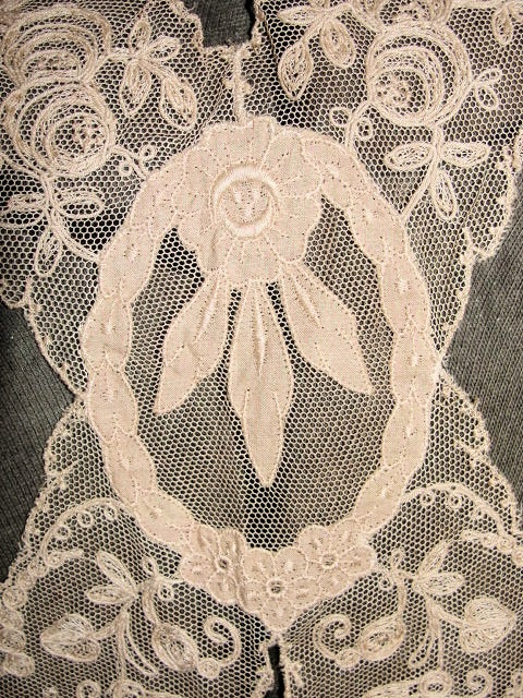 Antique Art Deco French Lace Ladies Collar Intricate ROSES Lace Pattern Tambour Embroidery Downton Abbey Great Gatsby Style