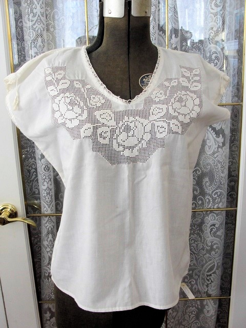 Lovely Edwardian Antique Downton Abbey Lace Roses Camisole Cami Corset Cover Blouse Bust 40 Inch Vintage Clothing