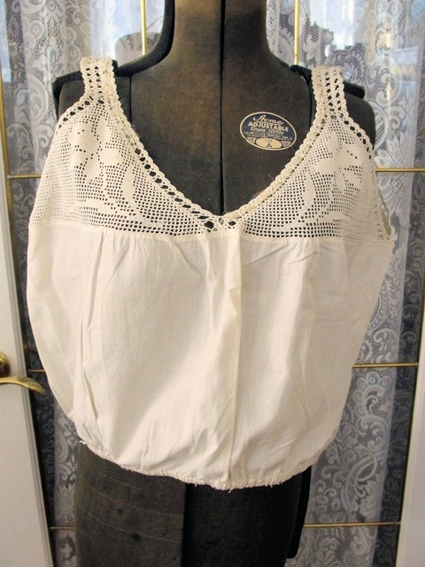 Lovely Edwardian Antique Downton Abbey Crochet Top Cotton Camisole Cami Corset Cover Bust 44 Inch Wear As A Blouse Vintage Clothing