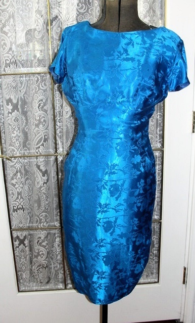 Vintage 1960s Slim Ladies Bombshell Cocktail Party Dress Figure Hugging Wiggle Mad Men Style Blue Brocade Adrian Label