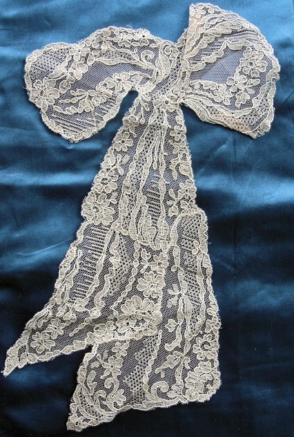Antique French Netted Tulle Lace Large Bow Ribbon Applique Roses Flowers Flapper Era Downton Abbey Great Gatsby Bridal Vintage Clothing