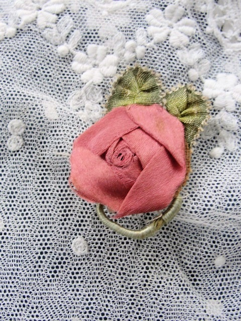 AUTHENTIC Antique French Ribbonwork Rose Bud Rosette Ribbon Flower 1920s Flapper Era Floral Pink
