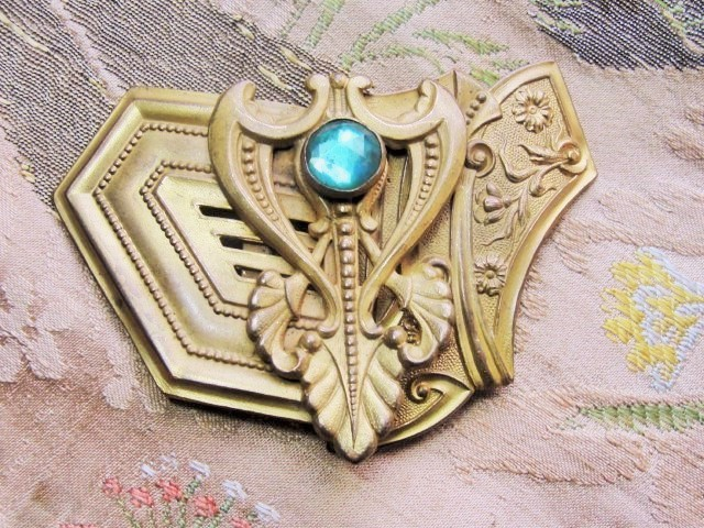 Antique VICTORIAN Art Nouveau Gothic Style Double Belt Buckle Stunning Brass JEWELED Unique Belt Buckle Vintage Clothing