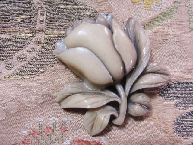 FAB Art Deco 1930s Vintage Carved Style Celluloid Rose Floral Brooch Dress Clip Tinted Molded Early Plastic Jewelry To Wear or For Collector