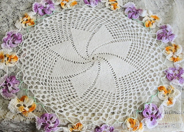 DECORATIVE VINTAGE DOILY CROCHETED PANSY FLOWERS SO SWEET