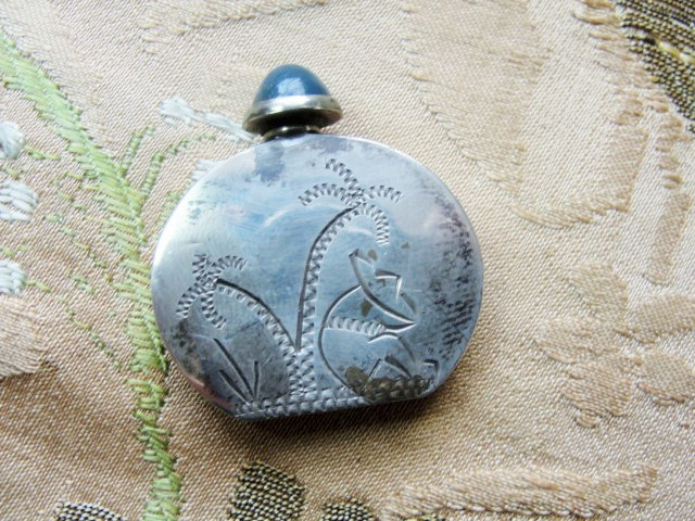 LOVELY Vintage Mexican Sterling Silver Tiny Blue Glass Jeweled Perfume Bottle Vintage Perfume Bottles