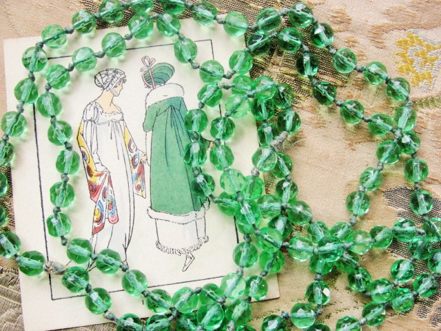 ANTIQUE Cut Glass Long FLAPPER Strand Lustrous Green Glass Bead Necklace Elegant Strand Of Beads Day or Evening Old Costume Jewelry