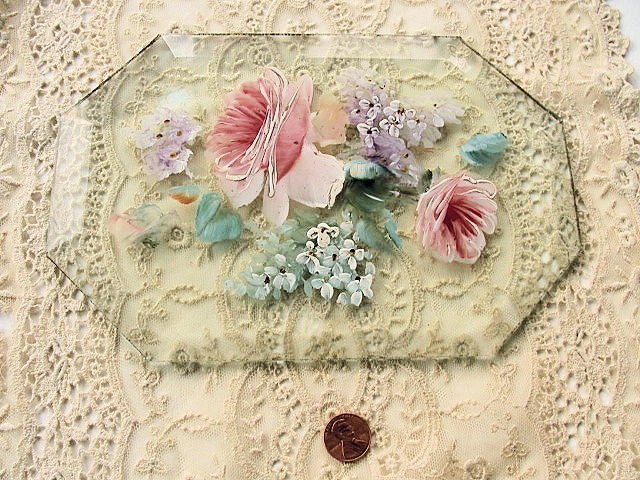 Beautiful Vintage Hand Painted Pink Roses Lilac Flowers On Beveled Glass Pane Original Old Painting Romantic Cottage Chic Decor