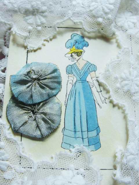LOVELY Antique French Ribbonwork Ombre Blue Rosette Flower Lame Metallic Ribbon Flowers Vintage 20s Flapper Downton Abbey Gatsby Rosettes
