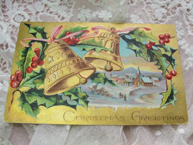 COLORFUL Antique Christmas Greeting Postcard Lush Gold Bells Hollyberry Trim Embossed Highly Decorative Holiday Decor Vintage Holiday Card