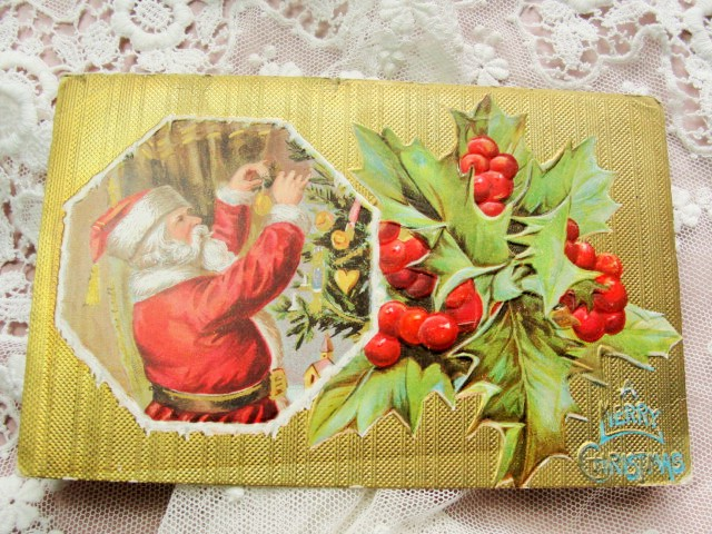 LOVELY Antique Christmas Greeting Postcard JOLLY SANTA Claus Saint Nick Embossed Hollyberry Decorative Holiday Decor Vintage Holiday Card