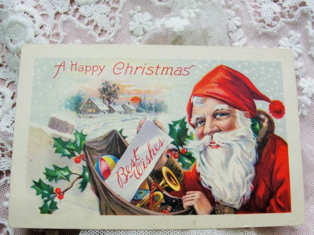 ANTIQUE Christmas Greeting Postcard HAPPY SANTA Claus Saint Nick Toys Snow Hollyberry Highly Decorative Holiday Decor Vintage Holiday Card