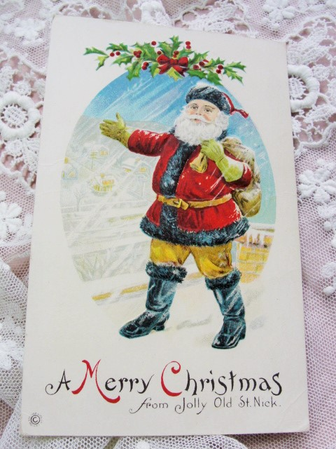 BEAUTIFUL Antique Christmas Greeting Postcard Full Embossed SANTA Claus Jolly Old St Nick Yellow Pants Holiday Decor Vintage Holiday Card